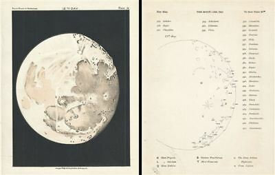 1892 Philip Map or Chart of the Moon on the 12th Day