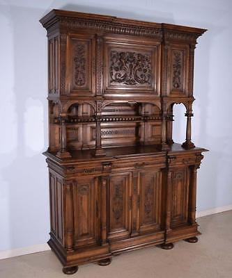 *Antique French Gothic Revival Sideboard/Buffet in Highly Carved Solid Walnut