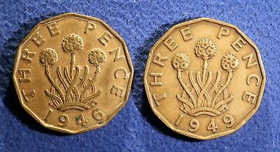 Pair of scarce British 3 pence coins - 1946 and 1949
