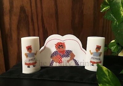 Black Americana Mammy Napkin Holder - Salt & Pepper Set