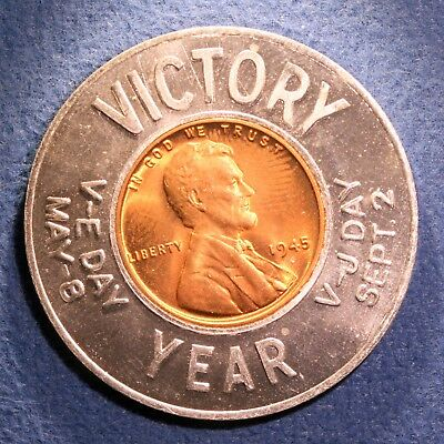 Nice encased 1945 Lincoln cent - Victory, VE Day, VJ Day, Veterinary Service