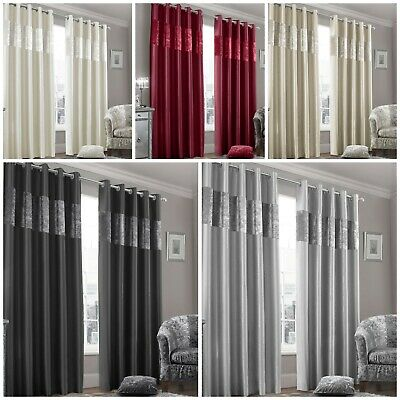 Faux Silk Ready Made Curtains Luxury Crushed Velvet Panel Eyelet / Ring Top