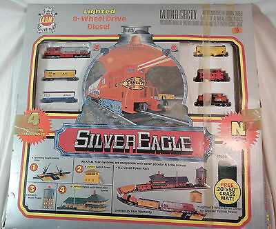 Vintage A.H.M. Silver Eagle 20303 N Scale Train Set Unused with NRFB Buildings