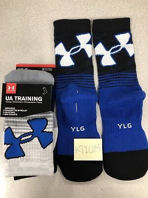 3 Pairs Under Armour Youth Boys Training Crew Socks YLG 13.5-4y