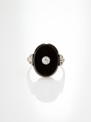 Genuine Antique Art Deco Natural Onyx And Diamond Chic Ring