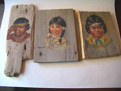 Indian Children Painted On Old Wood Planks Signed Peggy Lattin Set Of Three