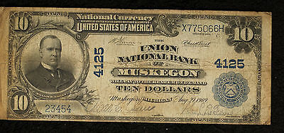 $10 Union National Bank of Muskegon MI - Series 1902 Plainback
