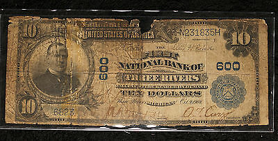 Series of 1902 $10 First National Bank of Three Rivers MI - Plain Back