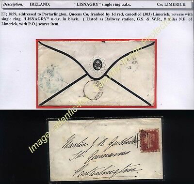 1859 LIMERICK 1d Red scarce single ring undated LISNAGRY Railway Station GS & W