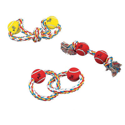 Rope Toys for Dogs Bright  Multi Colored Tennis Ball Tugs - Choose Shape or Set