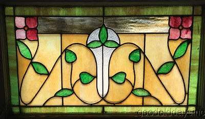 """Antique 1920s Stained Leaded Glass Transom Window 32"""" by 21"""""""