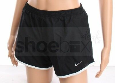 Nike Girl's Dri-Fit Tempo Black White Silver Lined Running Shorts 716734 010