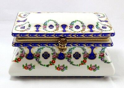 Beautiful Floral Vintage French Hand-Painted Porcelain Box with Brass Hardware