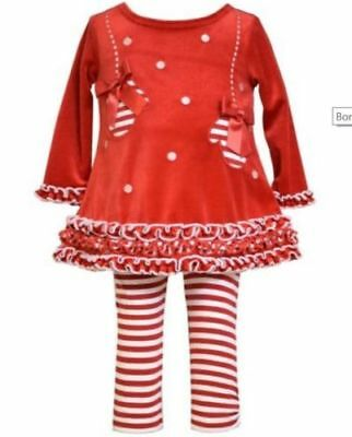 Bonnie Jean Girls Christmas Holiday Red Velour Mittens Tunic Leggings 6M 9M 12M
