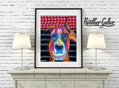 Boxer Dog breed gift Folk Art Print Poster Painting 11x14 GALLER SIgned