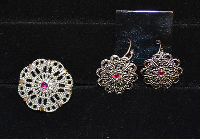 Unbranded - Silvertone Octagon Pink Stone Ring Earring Set - Adjustable
