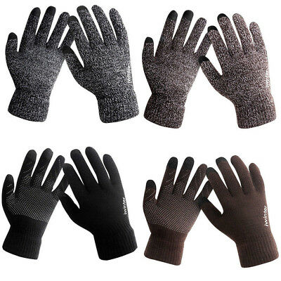 Fashion Men's Winter Warm Fleece Lined Thermal Knitted Gloves Touchscreen Gloves