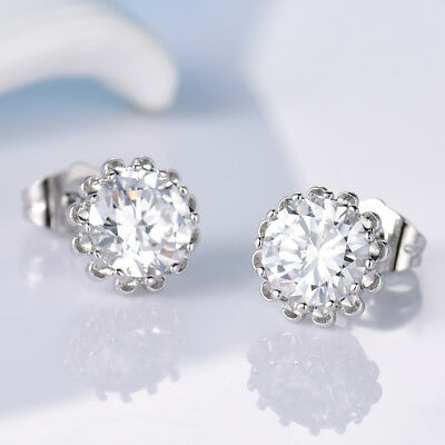 Brilliant Women Charms Swarovski Crystal White Gold Filled Wedding Stud Earrings