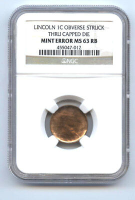 Lincoln Cent (1C) Obverse Struck Thru Capped Die-Ngc Ms63Rb-Rare-Mint Error