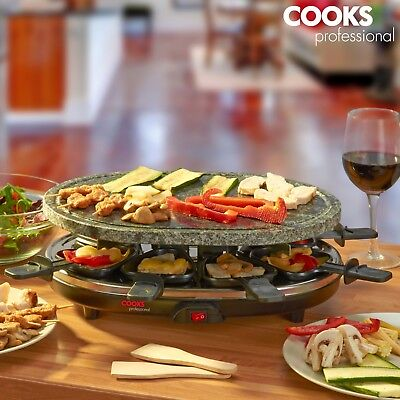 Cooks Professional Stone Raclette Grill Set with 8 Cheese Pans & Spatulas