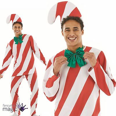 Christmas Xmas Adults Mens Candy Cane Man Novelty Funny Fun Fancy Dress Costume