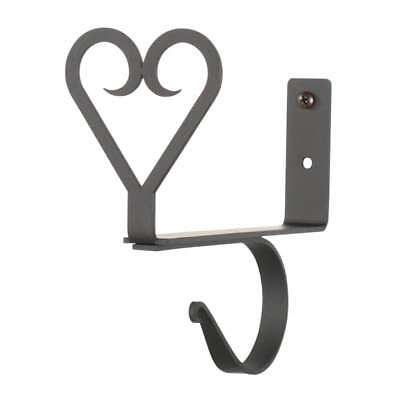 Black Wrought Iron Heart Curtain Shelf Brackets