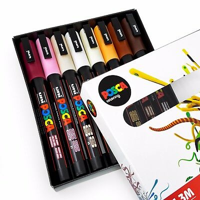 Uni POSCA - PC-3M Art Paint Markers - Skin Tones - Set of 8 - In Gift Box