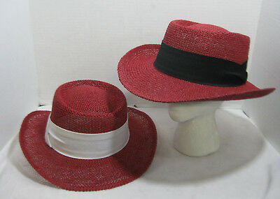 df709f4f6fc Straw Gambler Hat Red Fedora With Linen Band Western Cuban Choose Your  Color NEW
