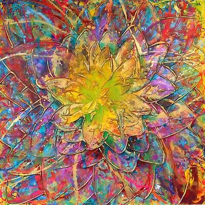 Floral Art Abstract Original Contemporary Painting On Canvas By Caroline Ashwood