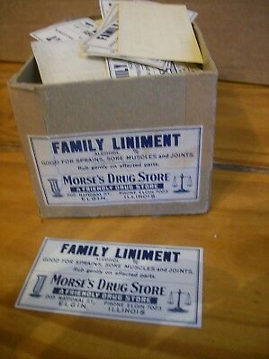 Box of Labels for Morse's Drug Store Elgin IL Family Liniment