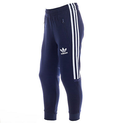 Junior Boys adidas Originals Clr84 Track Pants Navy-Zip Pockets To Sides-Ribbed