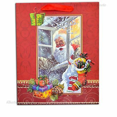 Medium Red Christmas Glitter 3D Decorative Paper Gift Bags Birthday Xmas Gifts
