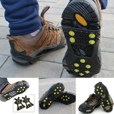1 Pair Over Shoe Studded Ice Snow Anti Slip Spikes Grips Grippers Crampon Cleats