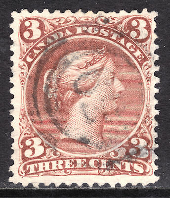 CANADA #25 3c RED, 1868 LQ, F, 2-RING39 WHITBY