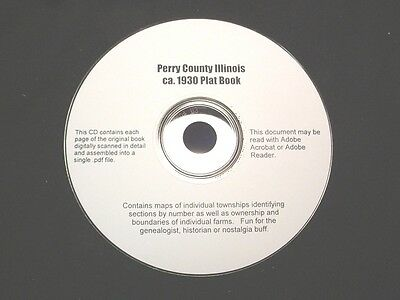 CD ~ 1930's Perry County Illinois Plat Map Atlas