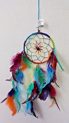 """Small Dream Catcher with Rainbow Multi-Colored Hoop Feathers & Beads 16"""" Length"""