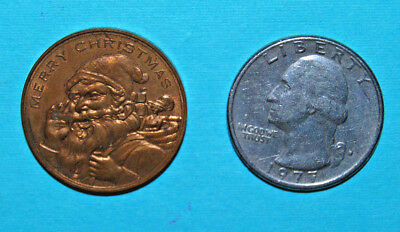 1910 John Wanamaker Department Store Good Luck Christmas Coin Token Santa Claus