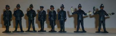 A Group Of Eight Rare 1950's Timpo Vintage Solid Plastic Police Figures