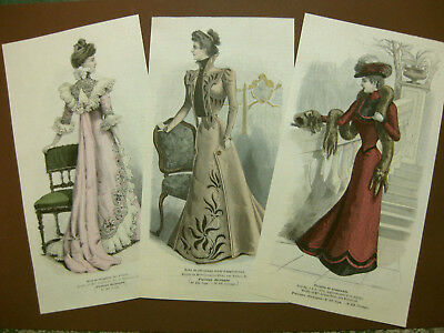 Mode Damenmode Ladies ' Fashion No 1, 3 franz Holzstiche woodcuts ca. 1880