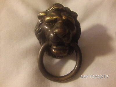 Antique Vintage Metal Lions Head Clock Embellishment or Drawer Pull