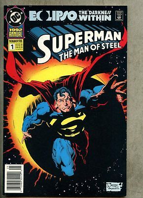 Superman The Man Of Steel Annual #1-1992 nm- Newsstand Variant Eclipso