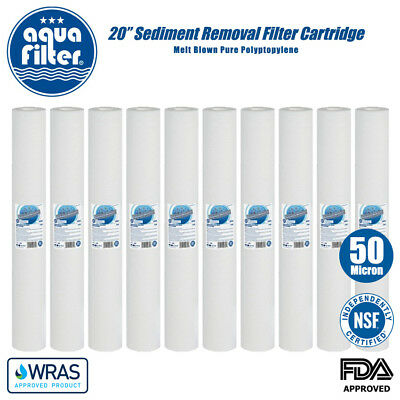 """20"""" Sediment Removal Water Filter Reverse Osmosis 50 Micron PP Aquafilter x 10"""