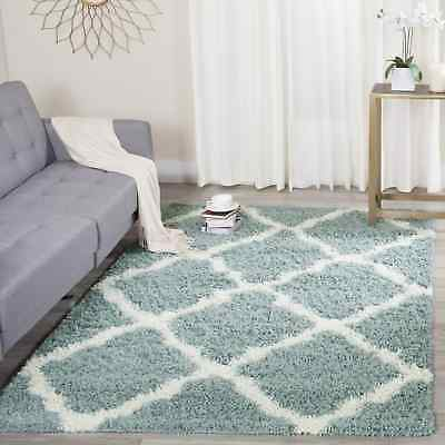 Safavieh Dallas Shag Light Blue/ Ivory Trellis Rug (8' Square)