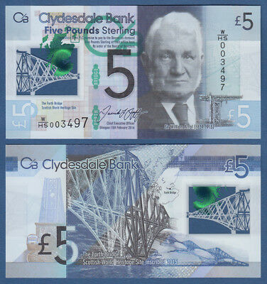 SCHOTTLAND / SCOTLAND Clydesdale Bank 5 Pounds 2016 Polymer UNC P. NEW