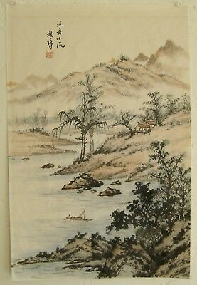 Fine Old Chinese Mountain Forest River Landscape Scroll Painting Artist SIGNED