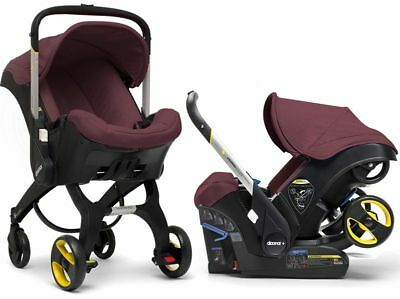Doona Infant Baby Car Seat Travel Stroller Cherry Burgundy with Latch Base NEW