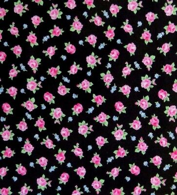 By The Yard, Cotton Sewing Quilting Fabric By Quilt Gate, Pink Rose Calico BLACK