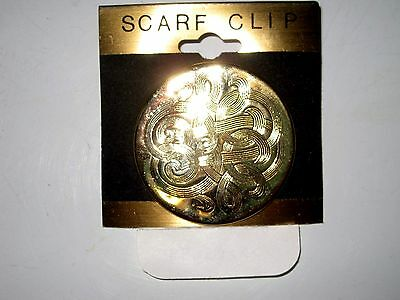 Classic Scarf Clip In Goldtone W Swirled Design Etched Into Circular Medallion