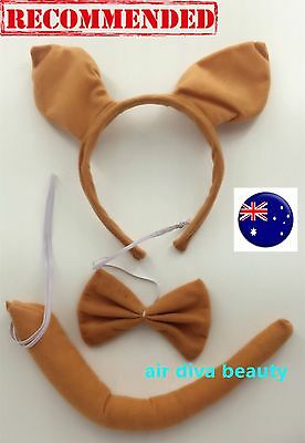 Women Kid Child Kangaroo Wallaby Costume Ear tail Party Hair head band Prop set
