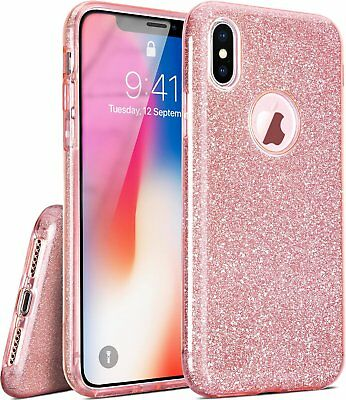 Pink Glitter Bling Luxury Soft Protective Case Cover For iPhone Xs Max 8 7 Plus